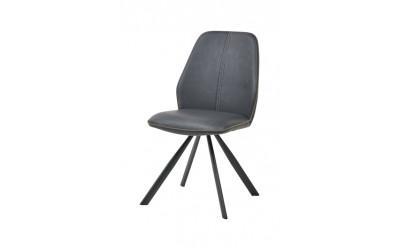 Chaise 1902 PU gris / tissu brun